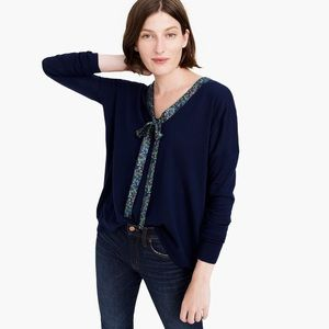 NWT J Crew X Abagail Borg Tie Neck Wool Sweater